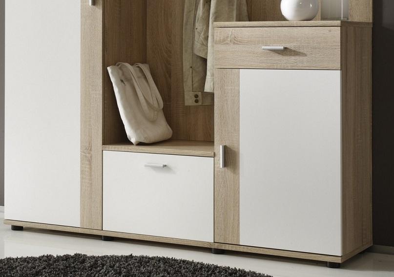 garderobe patent sonoma eiche wei b h t 145 188 30. Black Bedroom Furniture Sets. Home Design Ideas