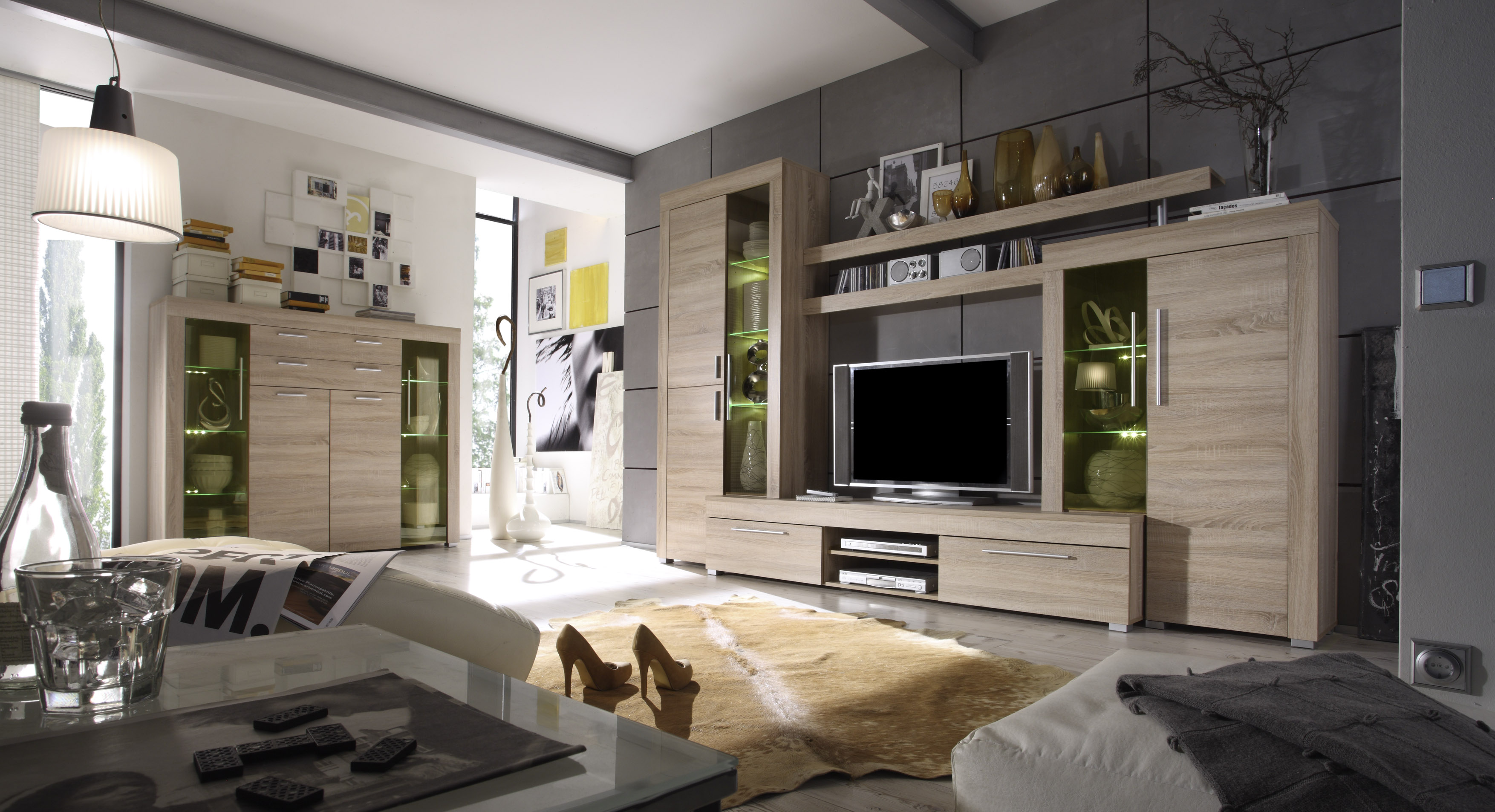 highboard boom von trendteam eiche s gerau hell. Black Bedroom Furniture Sets. Home Design Ideas