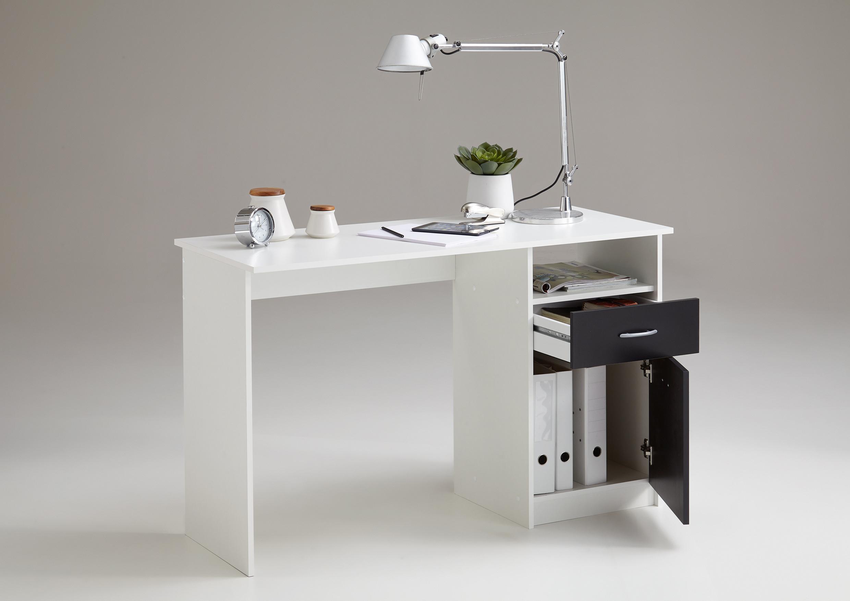 jackson schreibtisch von fmd wei schwarz. Black Bedroom Furniture Sets. Home Design Ideas