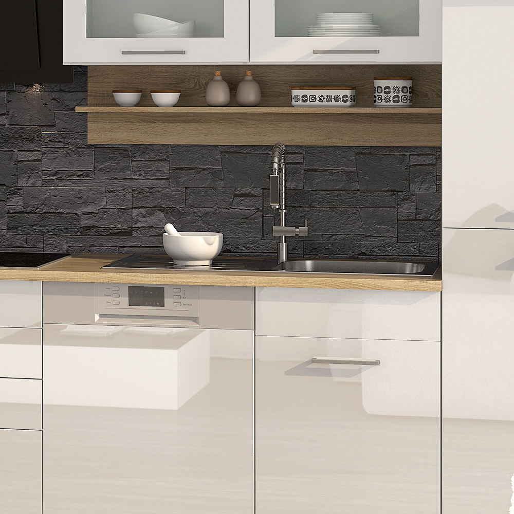k chenblock inkl e ger te und apothekerschrank 370 cm breit mailand 370ga von held m bel weiss. Black Bedroom Furniture Sets. Home Design Ideas