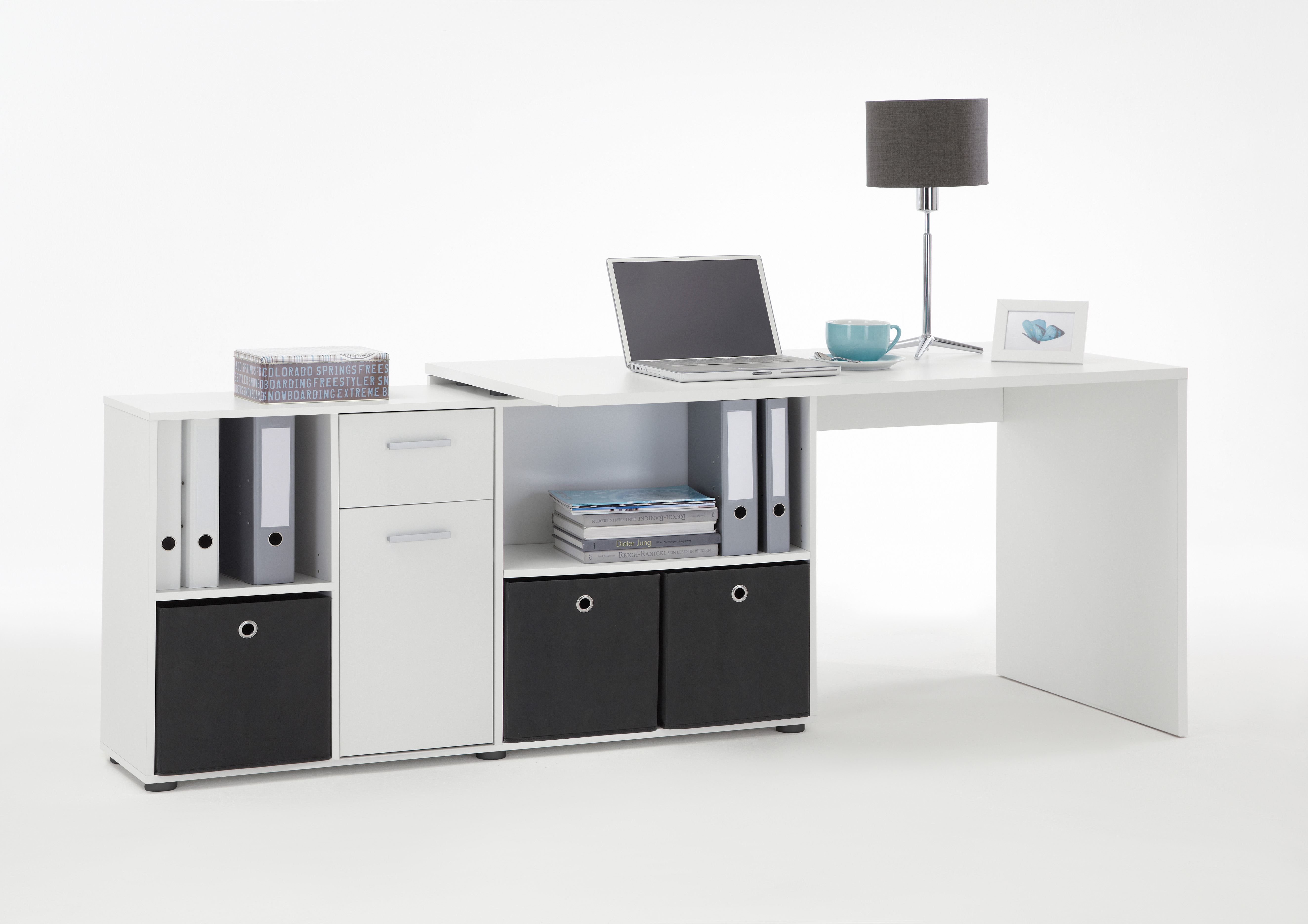 Eckschreibtisch schwarz weiß  Lex Winkelkombi Schreibtisch Weiß FMD Eckschreibtisch