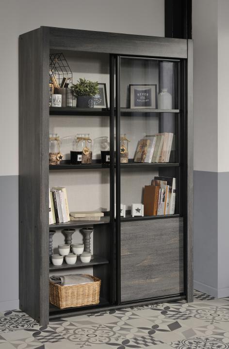 vitrine 2 schiebet ren maxwell 9 von parisot eiche grau. Black Bedroom Furniture Sets. Home Design Ideas