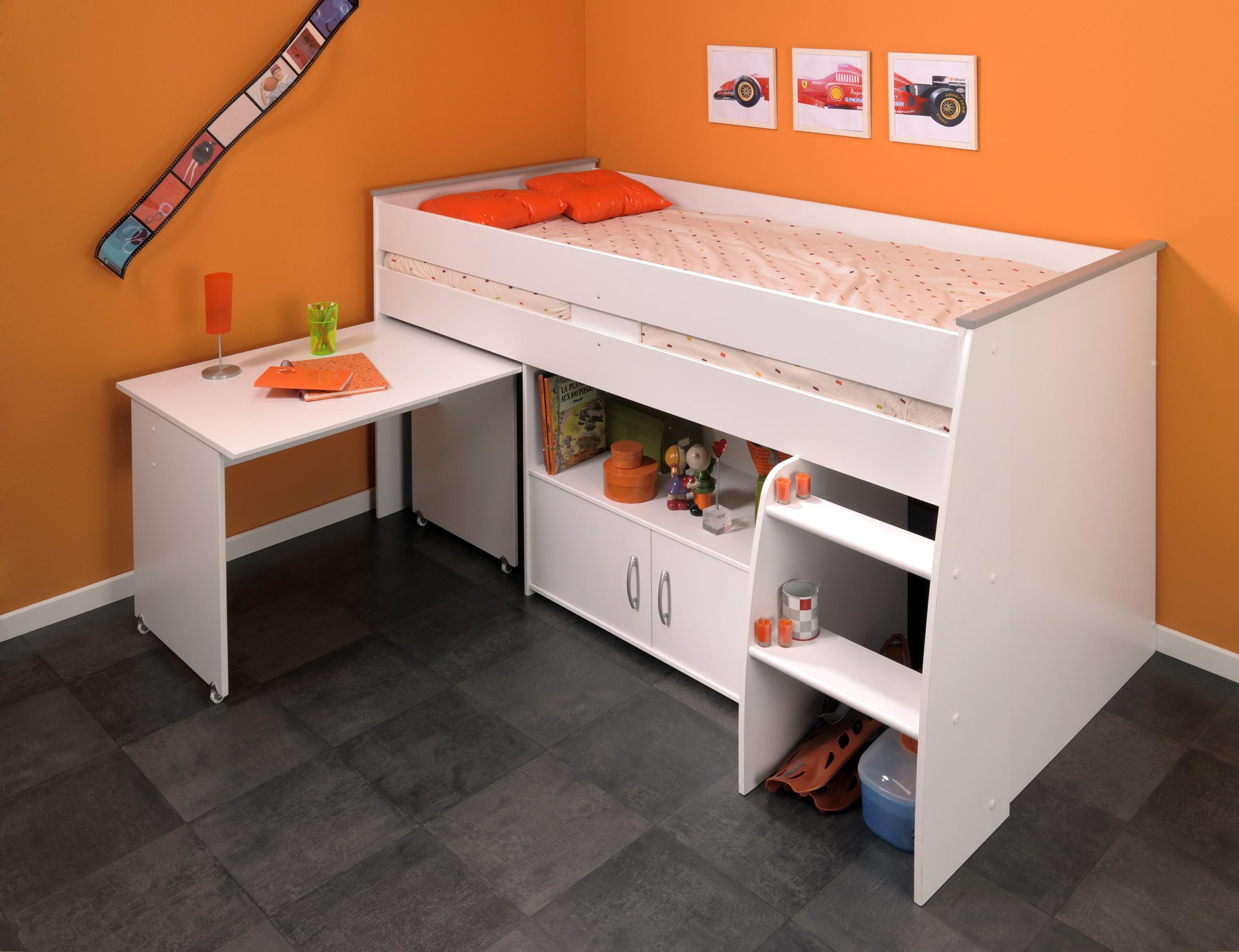 90x200 hochbett reverse von parisot wei. Black Bedroom Furniture Sets. Home Design Ideas