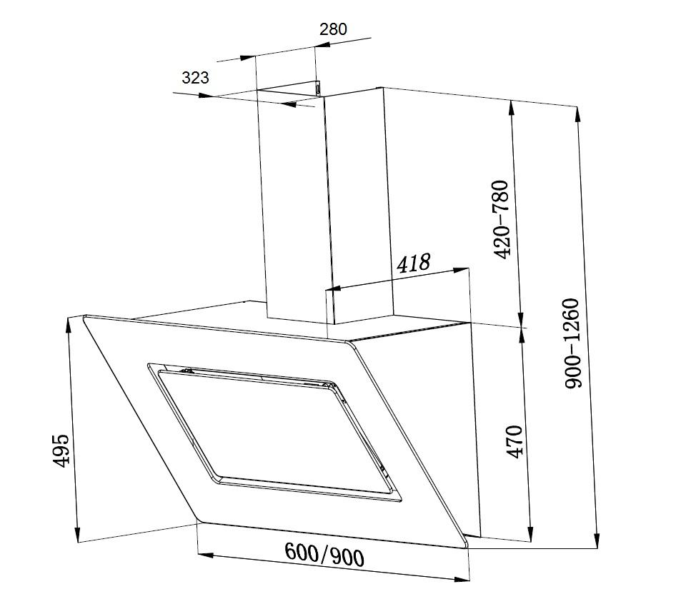 pkm 9040 60bz wandhaube dunstabzugshaube inkl randabsaugung und beleuchtung 60 cm edelstahl. Black Bedroom Furniture Sets. Home Design Ideas