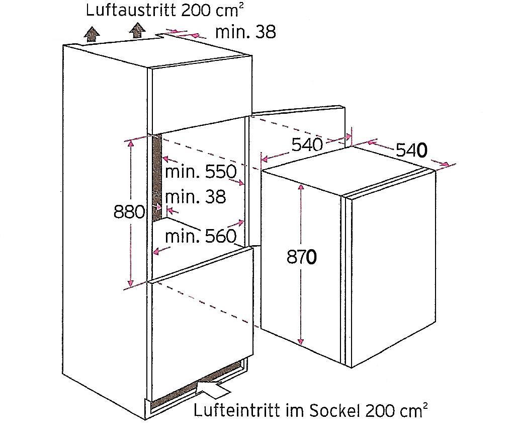 pkm ks120 4a eb einbau k hlschrank inkl gefrierfach 87 cm hoch. Black Bedroom Furniture Sets. Home Design Ideas