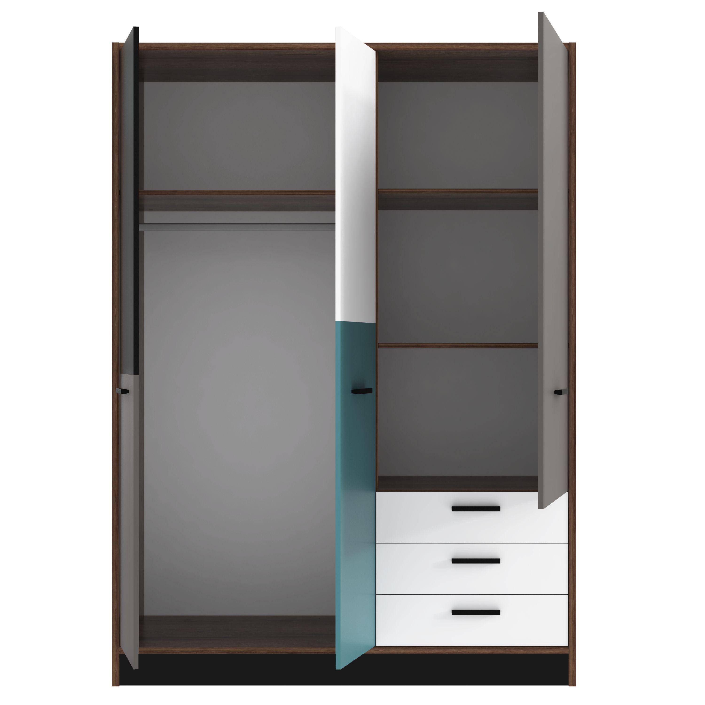 kleiderschrank 3 trg 3 schubk sten raven von forte schlammeiche weiss schwarz gr n. Black Bedroom Furniture Sets. Home Design Ideas