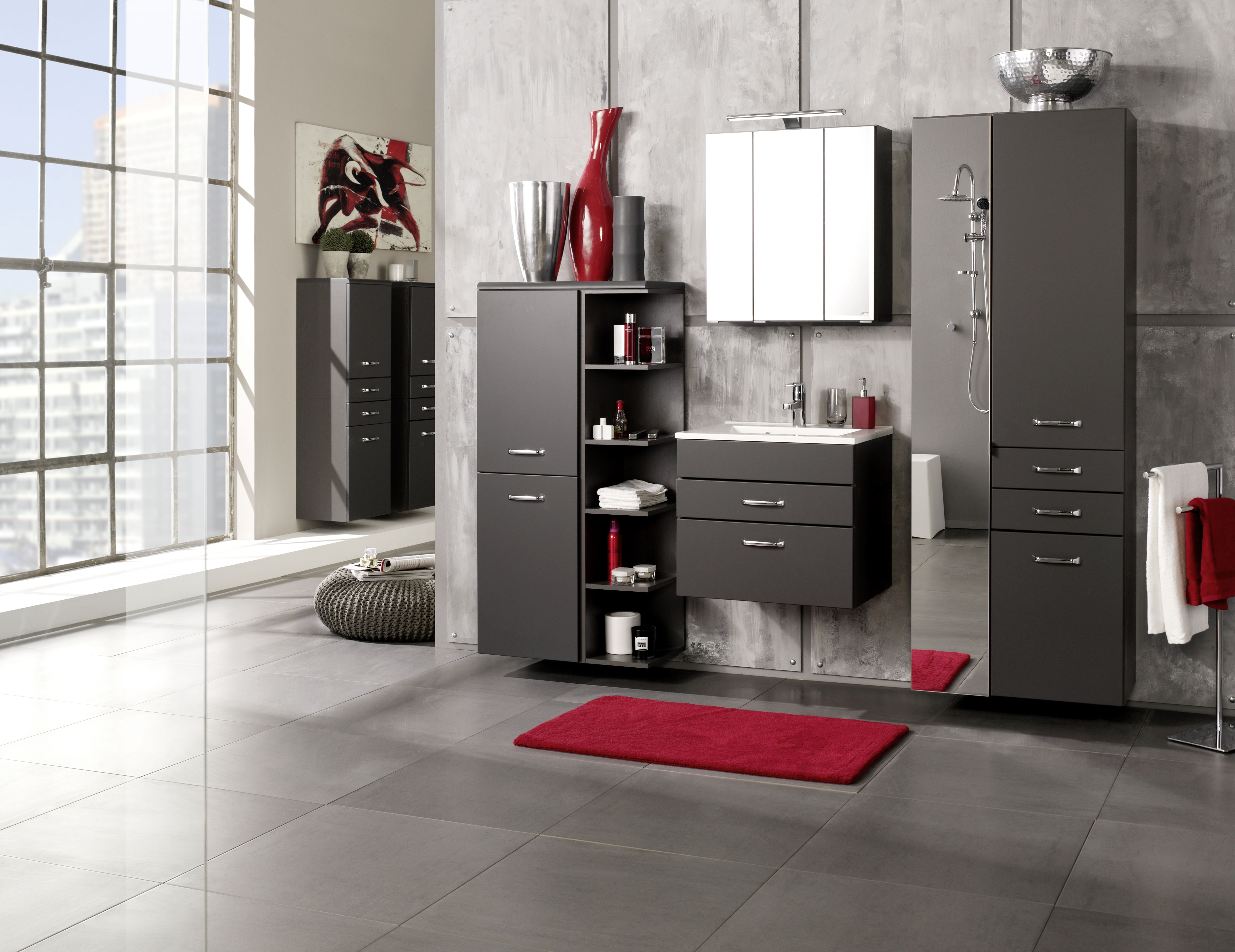 seitenschrank 65 fontana von held m bel anthrazit matt graphit. Black Bedroom Furniture Sets. Home Design Ideas