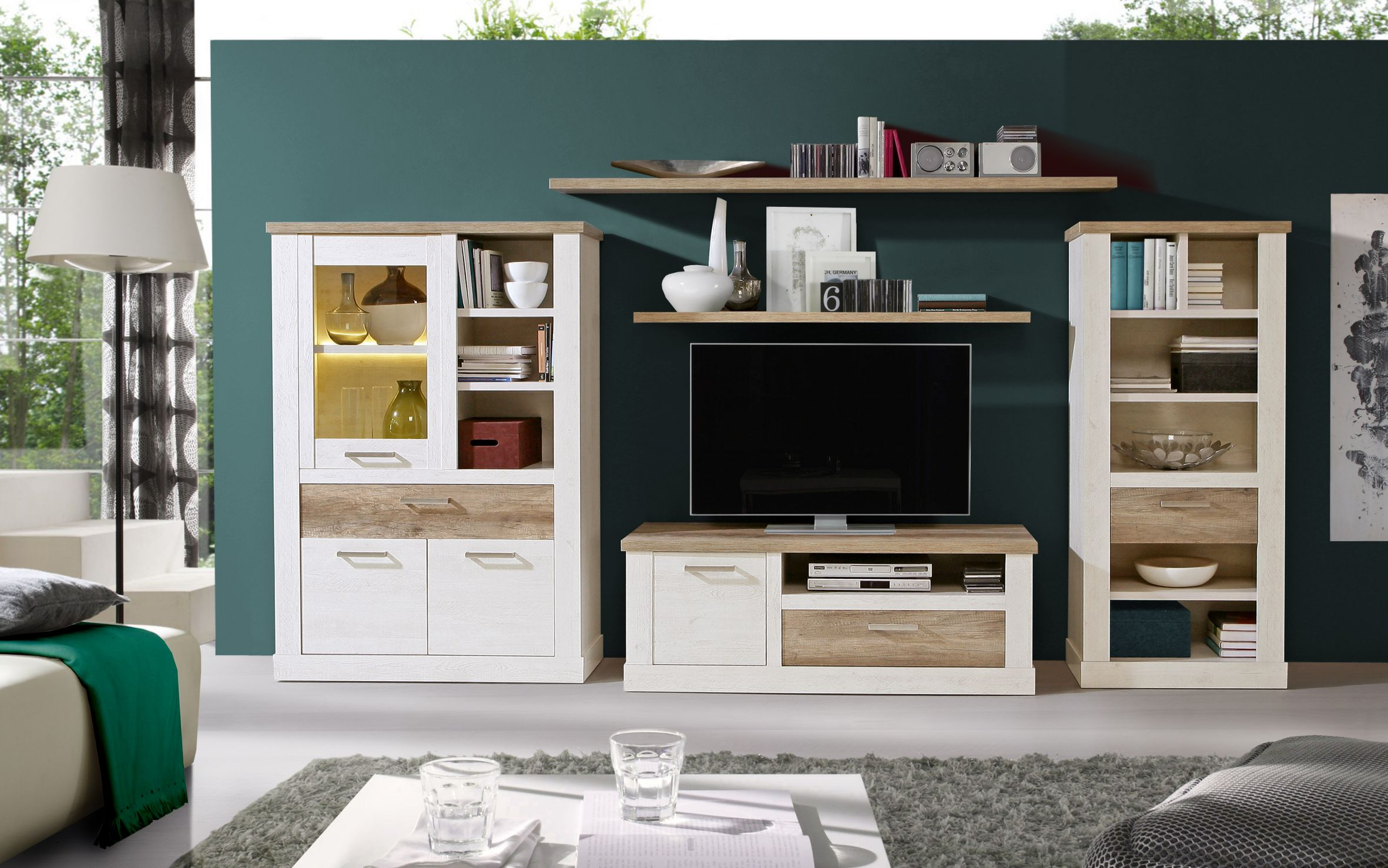 tv unterschrank 1 trg 1 schubkasten duro von forte pinia wei eiche antik. Black Bedroom Furniture Sets. Home Design Ideas