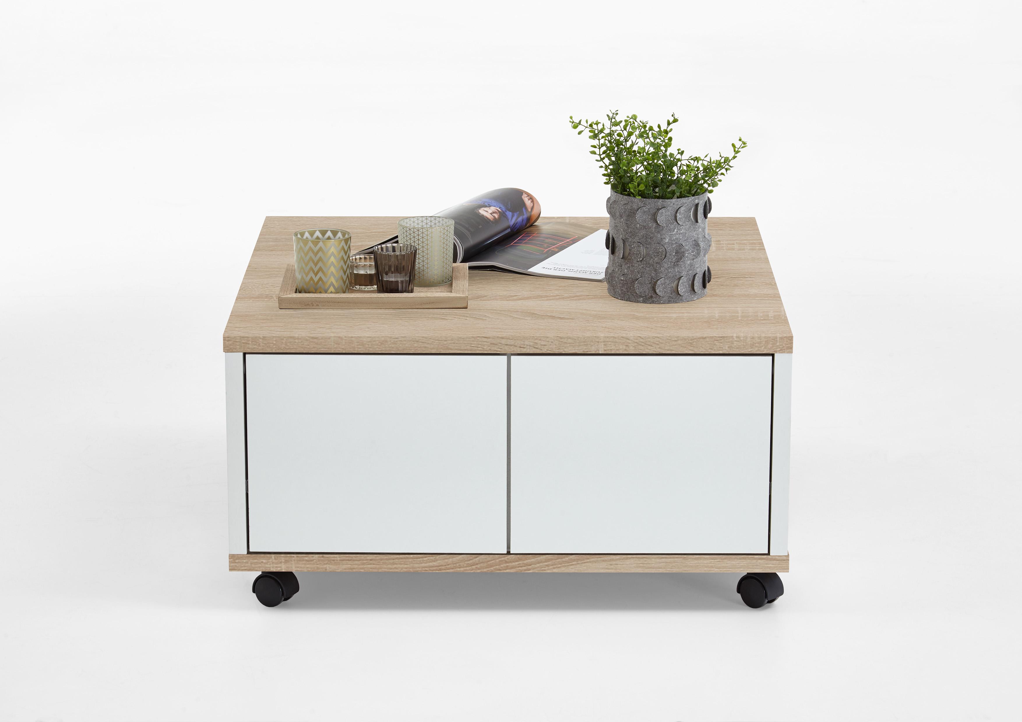 twin 1 couchtisch auf rollen von fmd eiche weiss edelglanz. Black Bedroom Furniture Sets. Home Design Ideas