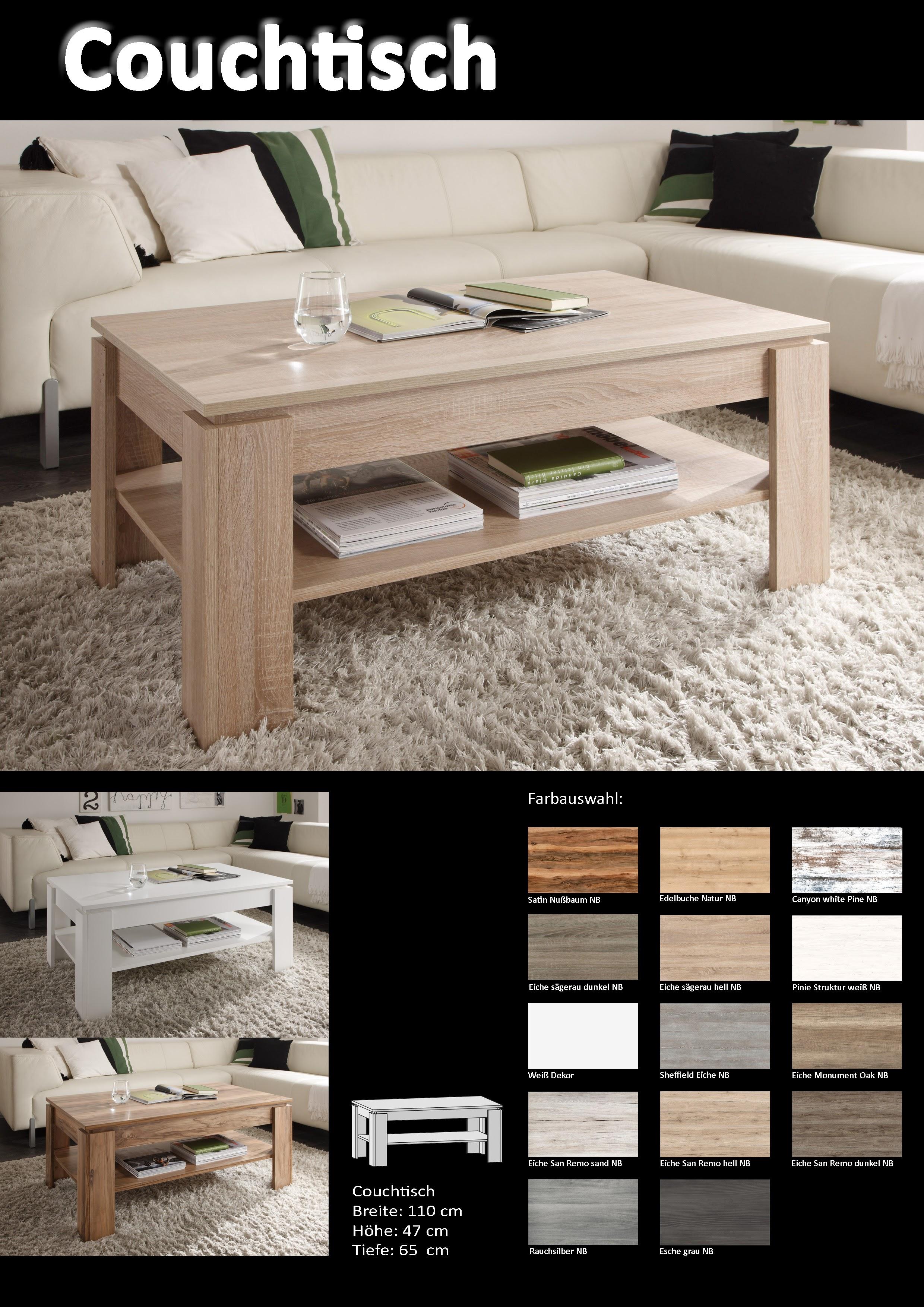 couchtisch universal von trendteam eiche san remo hell. Black Bedroom Furniture Sets. Home Design Ideas