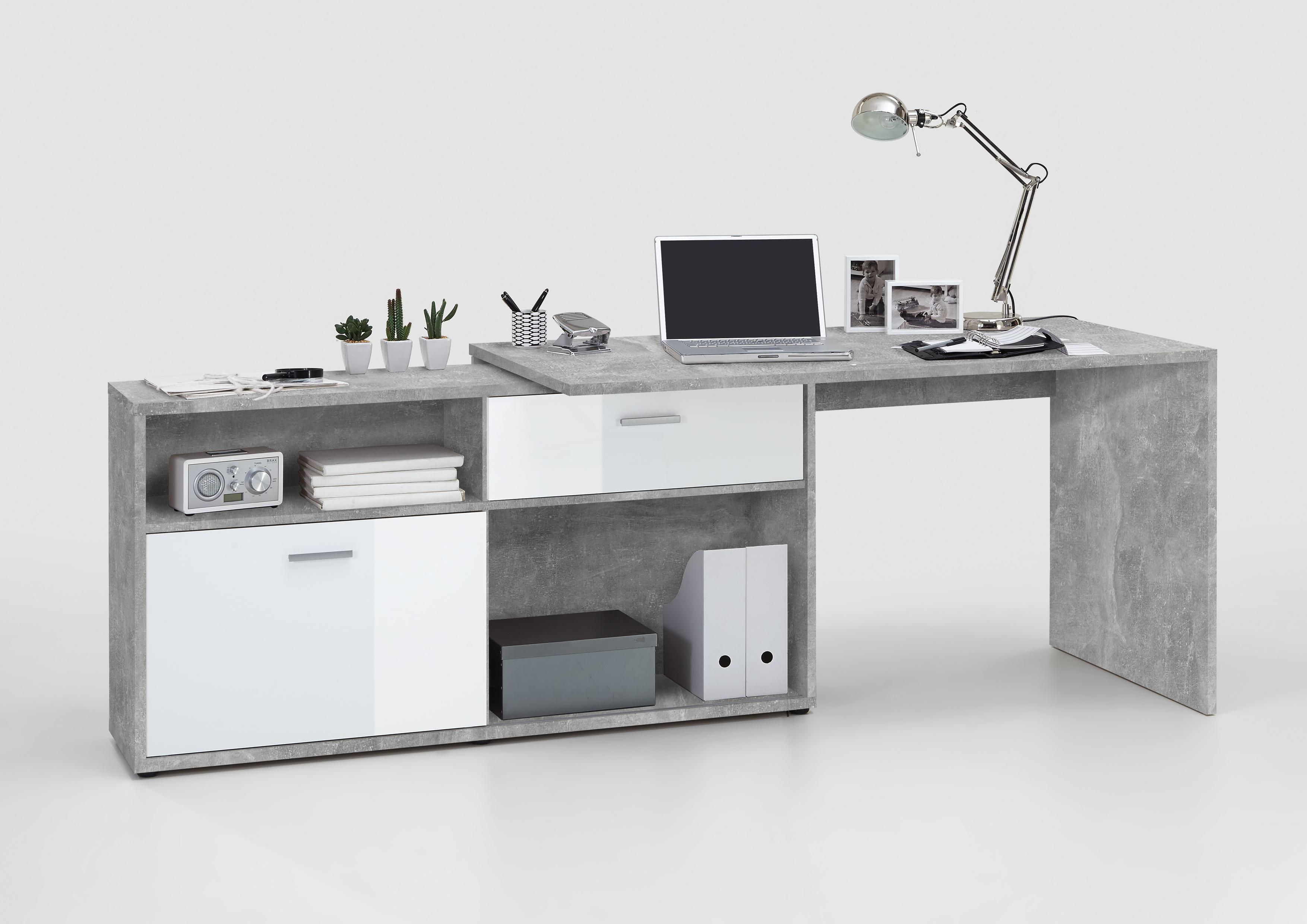 diego winkelschreibtisch von fmd beton wei hgl. Black Bedroom Furniture Sets. Home Design Ideas