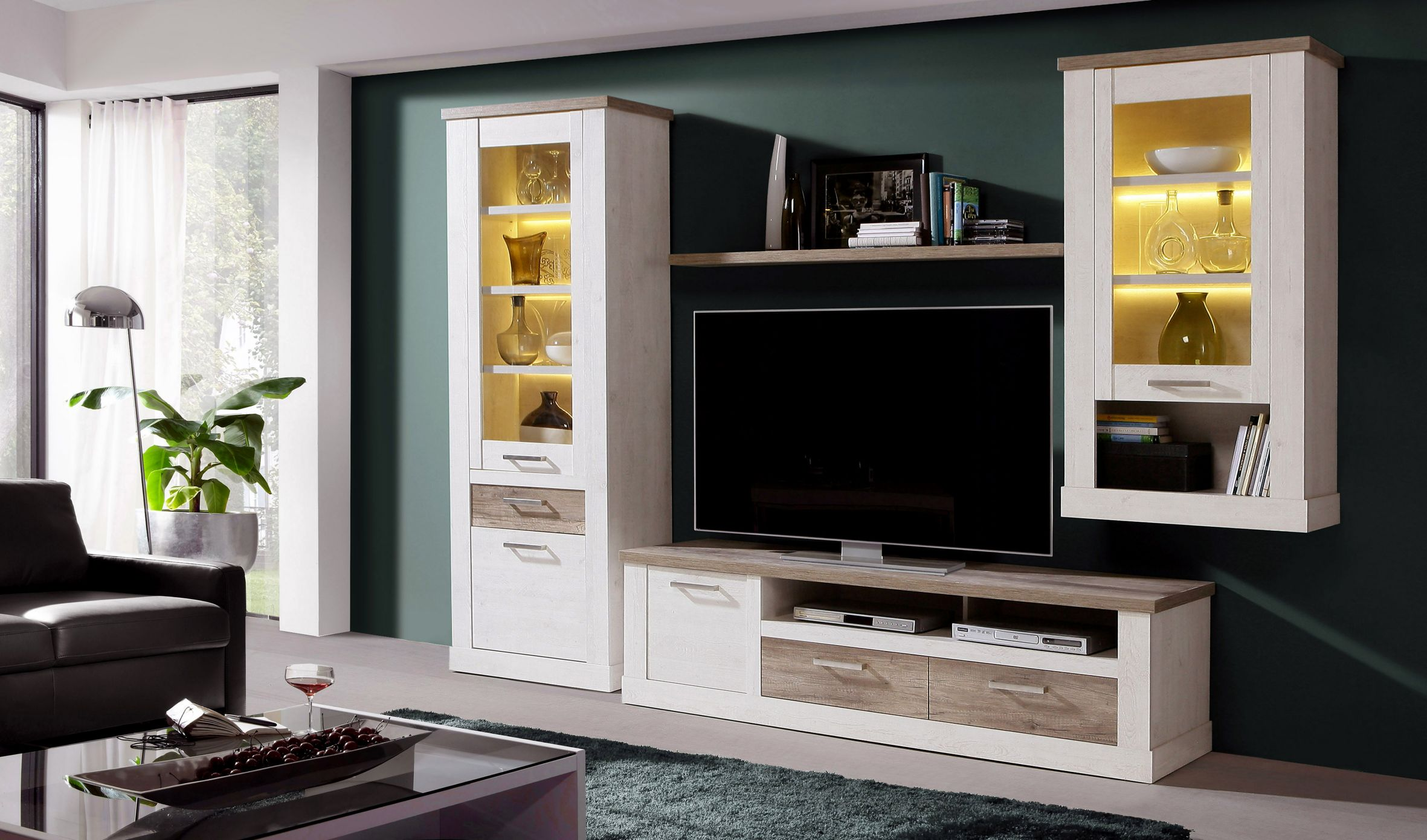 wandregal ca 140 breit duro von forte eiche antik. Black Bedroom Furniture Sets. Home Design Ideas