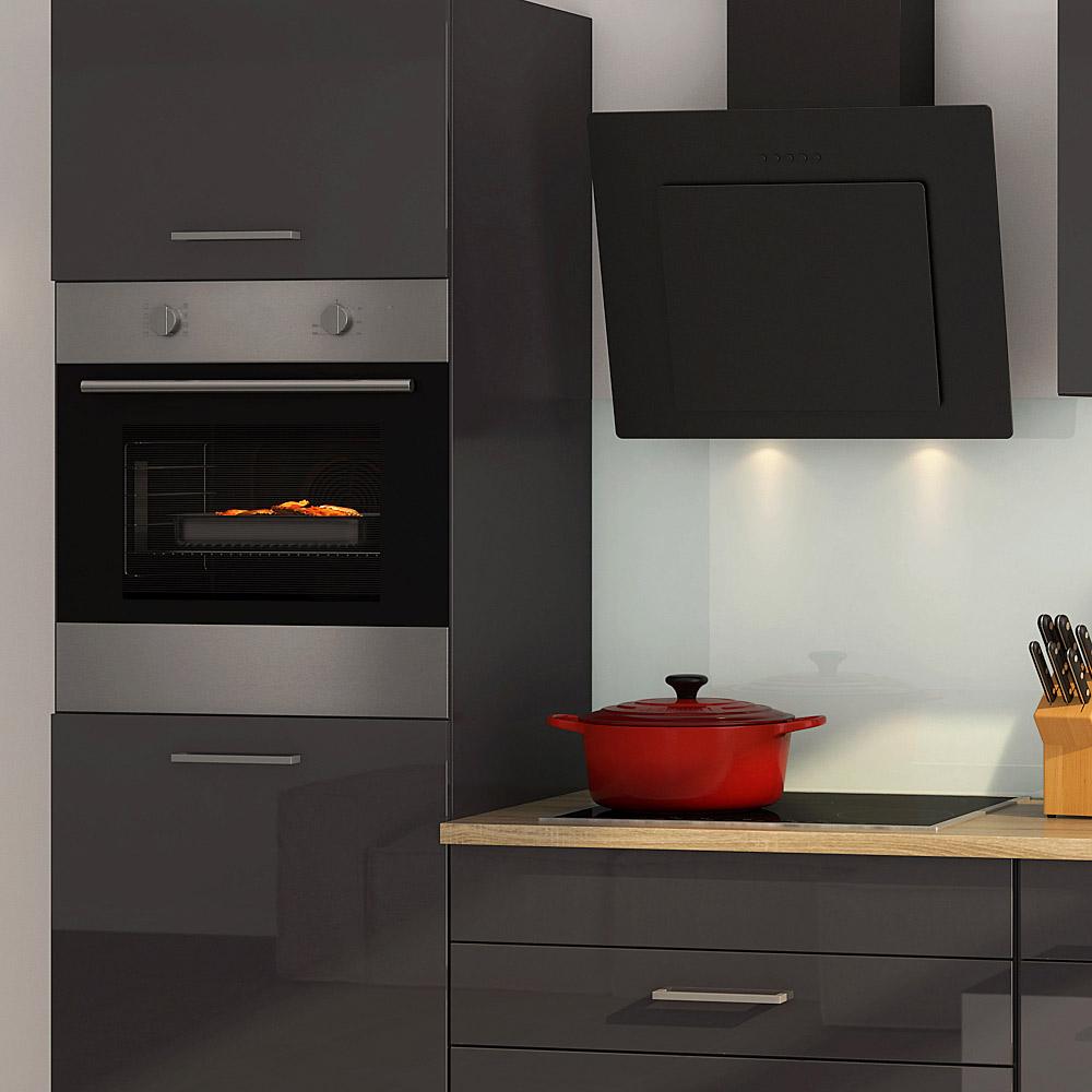 k chenblock inkl e ger te 290 cm breit mailand 290 von held m bel grafit hochglanz grau. Black Bedroom Furniture Sets. Home Design Ideas