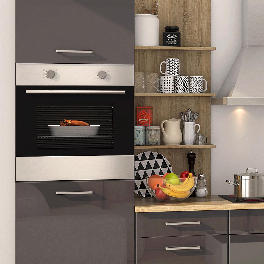 k chenblock inkl e ger te 300 cm breit mailand 300 von held m bel grafit hochglanz grau. Black Bedroom Furniture Sets. Home Design Ideas