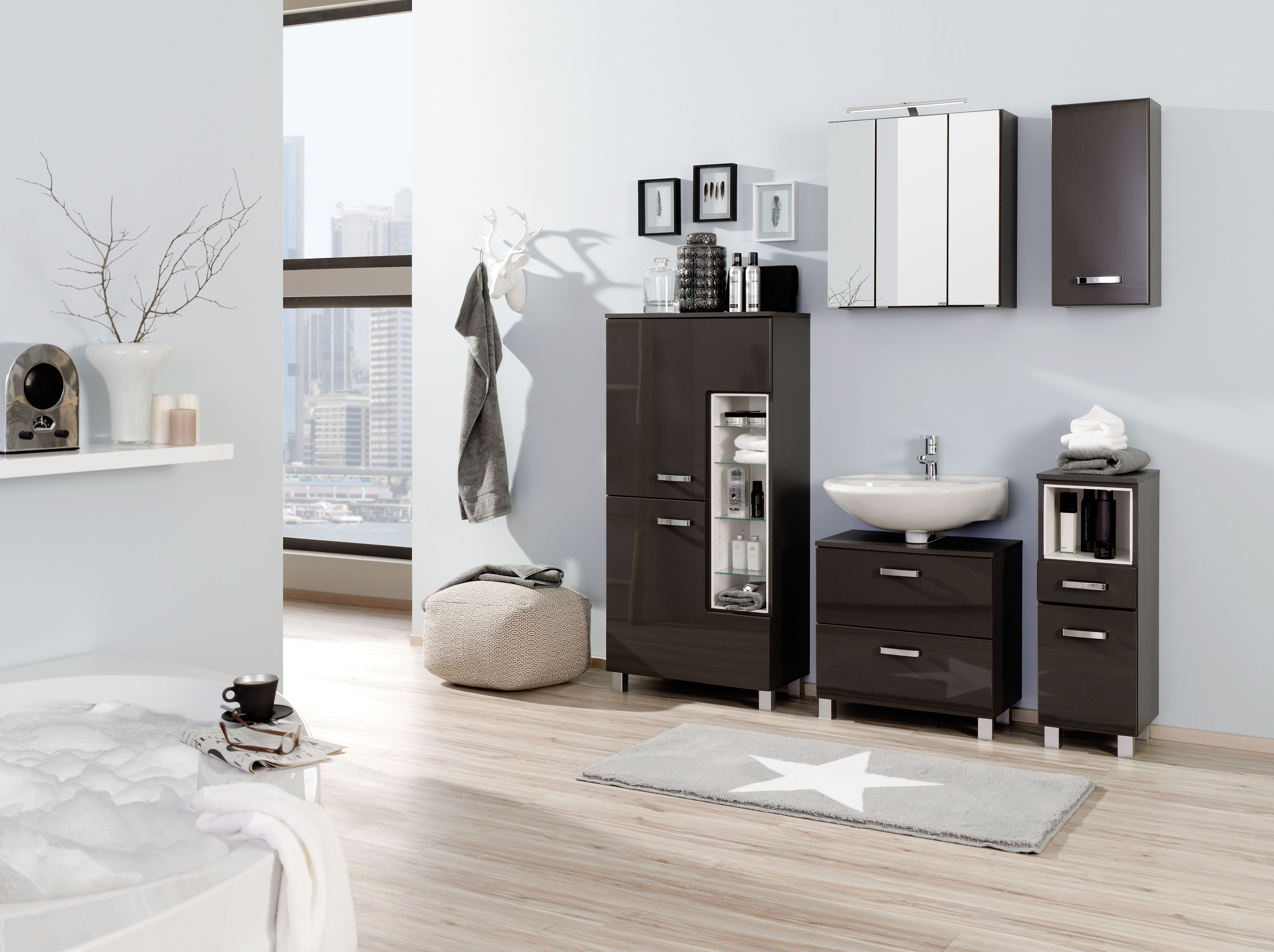 midischrank 65 ancona von held m bel grau hgl graphitgrau. Black Bedroom Furniture Sets. Home Design Ideas