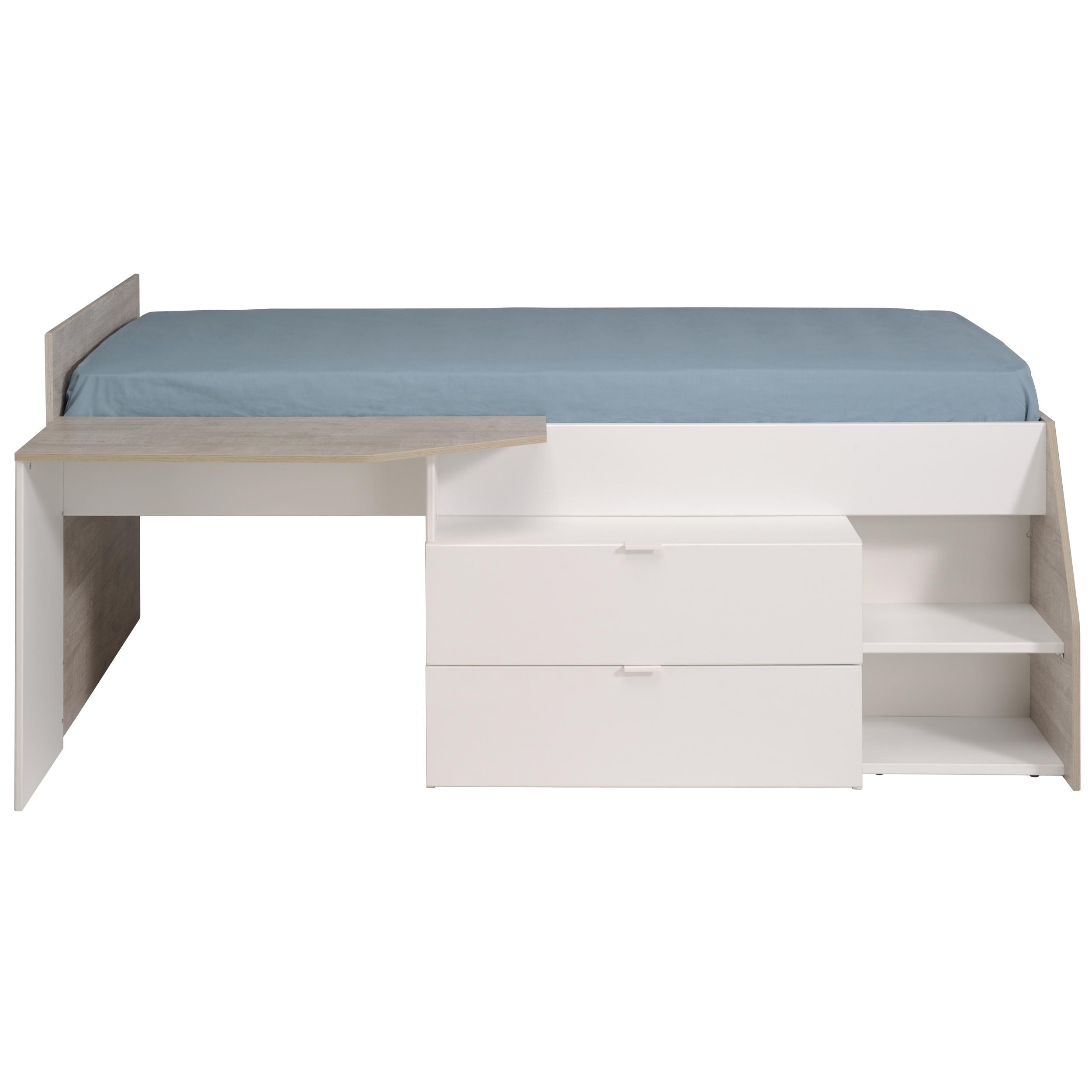 90x200 hochbett inkl schreibtisch u 2 schubladen milky b von parisot wei grey loft. Black Bedroom Furniture Sets. Home Design Ideas