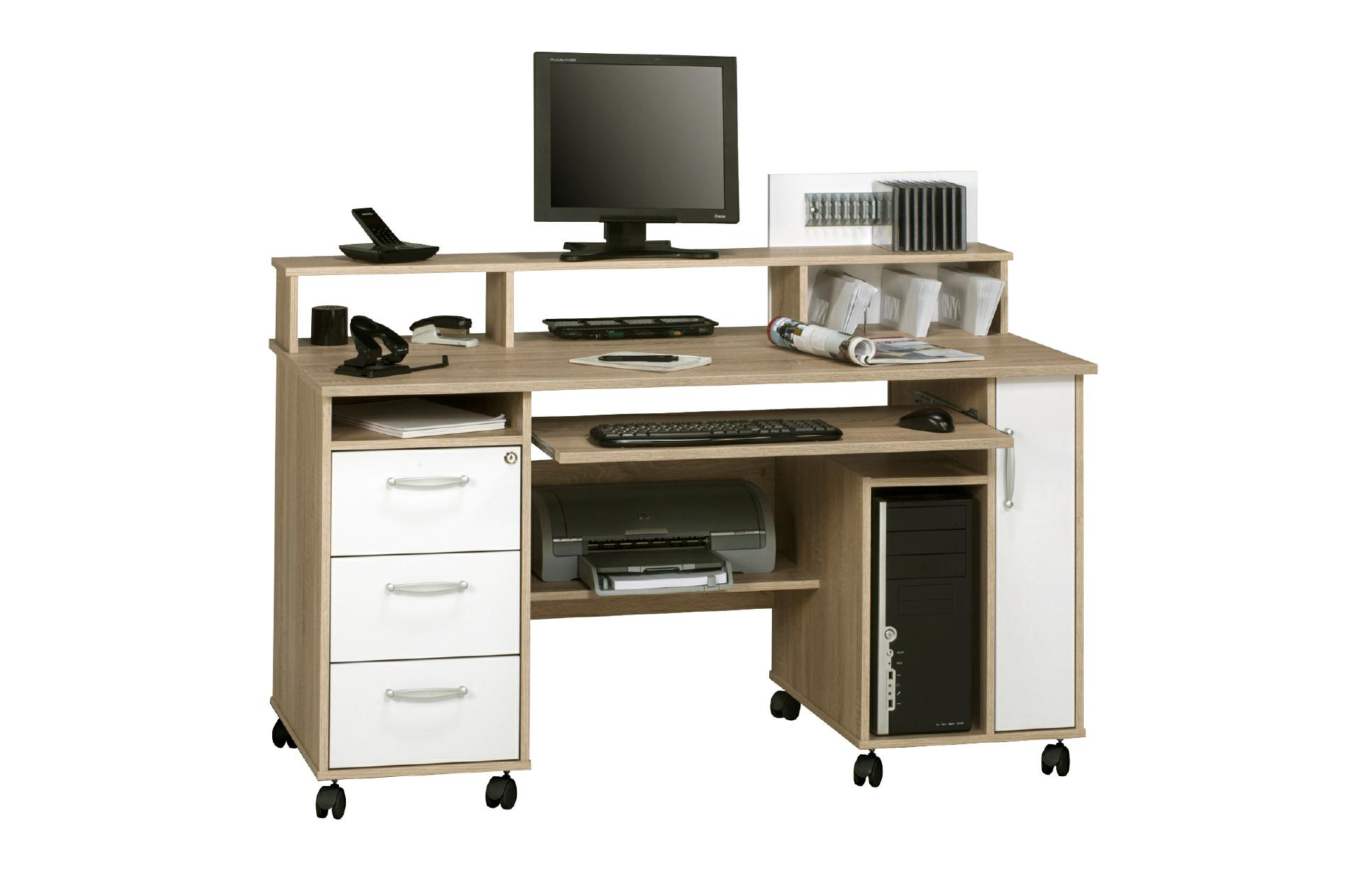 schreibtisch computertisch office 9475 von maja sonoma eiche icy wei. Black Bedroom Furniture Sets. Home Design Ideas