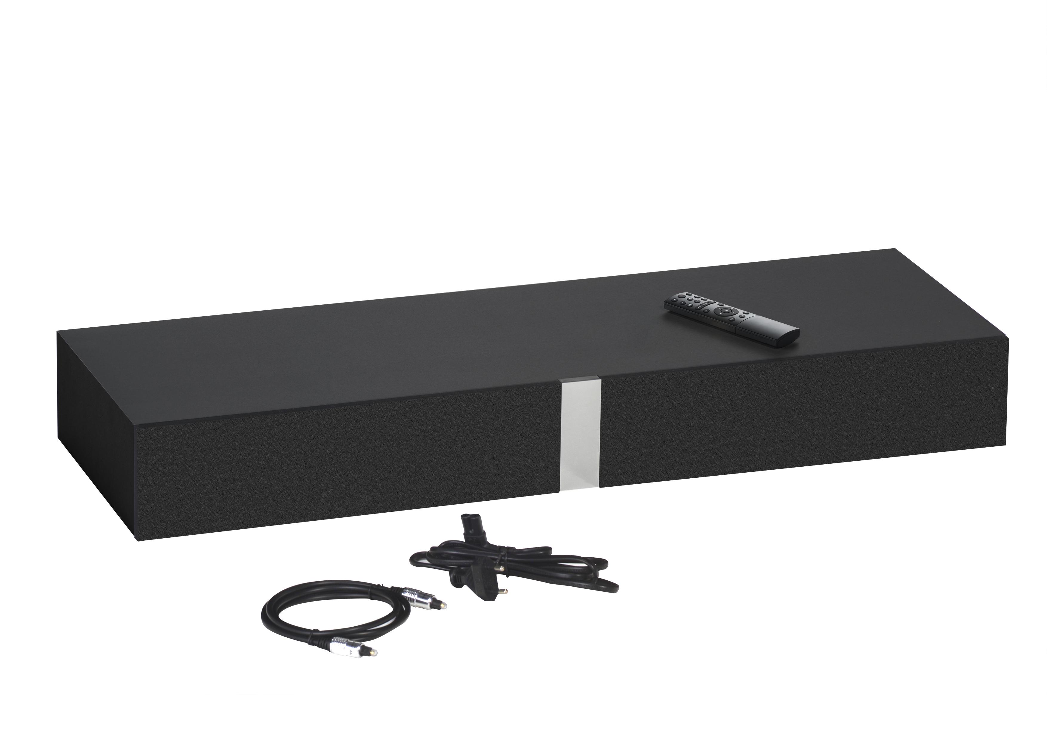 lowboard 160 cm breit soundconcept wood von maja riviera eiche schwarz. Black Bedroom Furniture Sets. Home Design Ideas