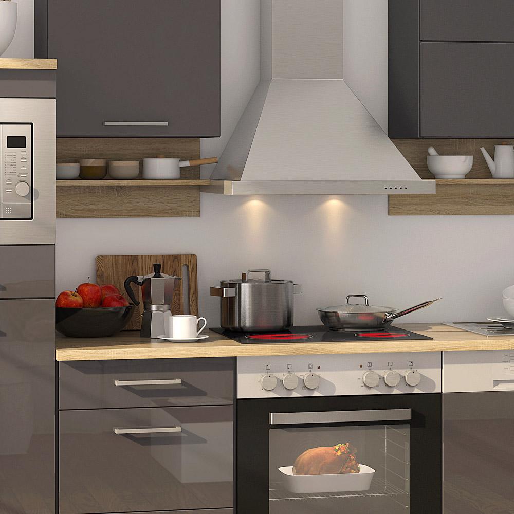 k chenblock inkl e ger te 270 cm breit mailand 270 von held m bel grafit hochglanz grau. Black Bedroom Furniture Sets. Home Design Ideas