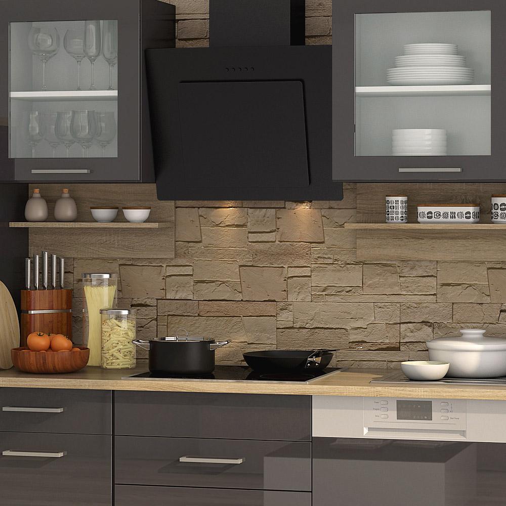k chenblock inkl e ger te und apothekerschrank 370 cm breit mailand 370ga von held m bel grafit. Black Bedroom Furniture Sets. Home Design Ideas