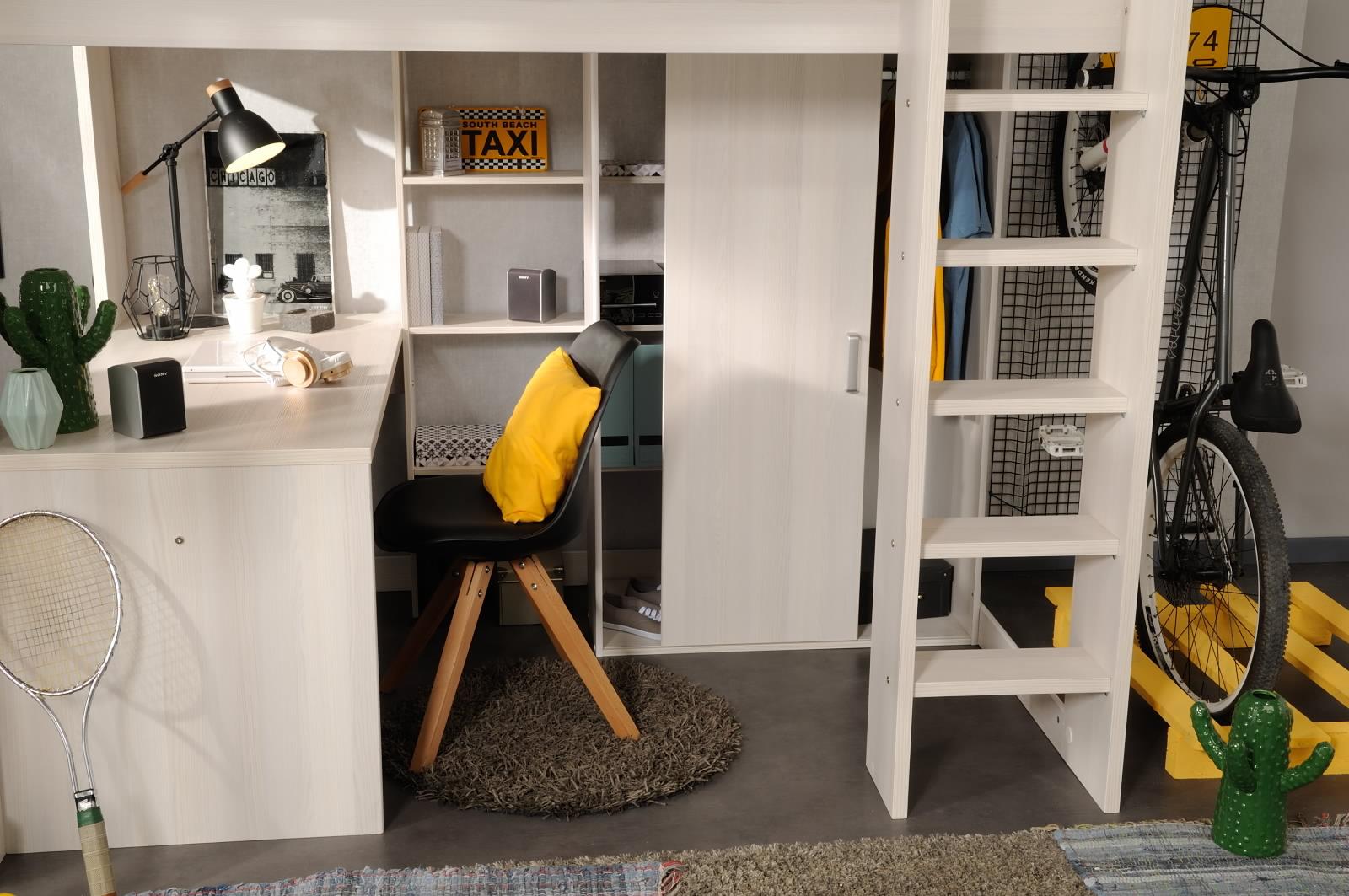 90x200 hochbett inkl integrierter schreibtisch u schrank higher 1b von by ebay. Black Bedroom Furniture Sets. Home Design Ideas