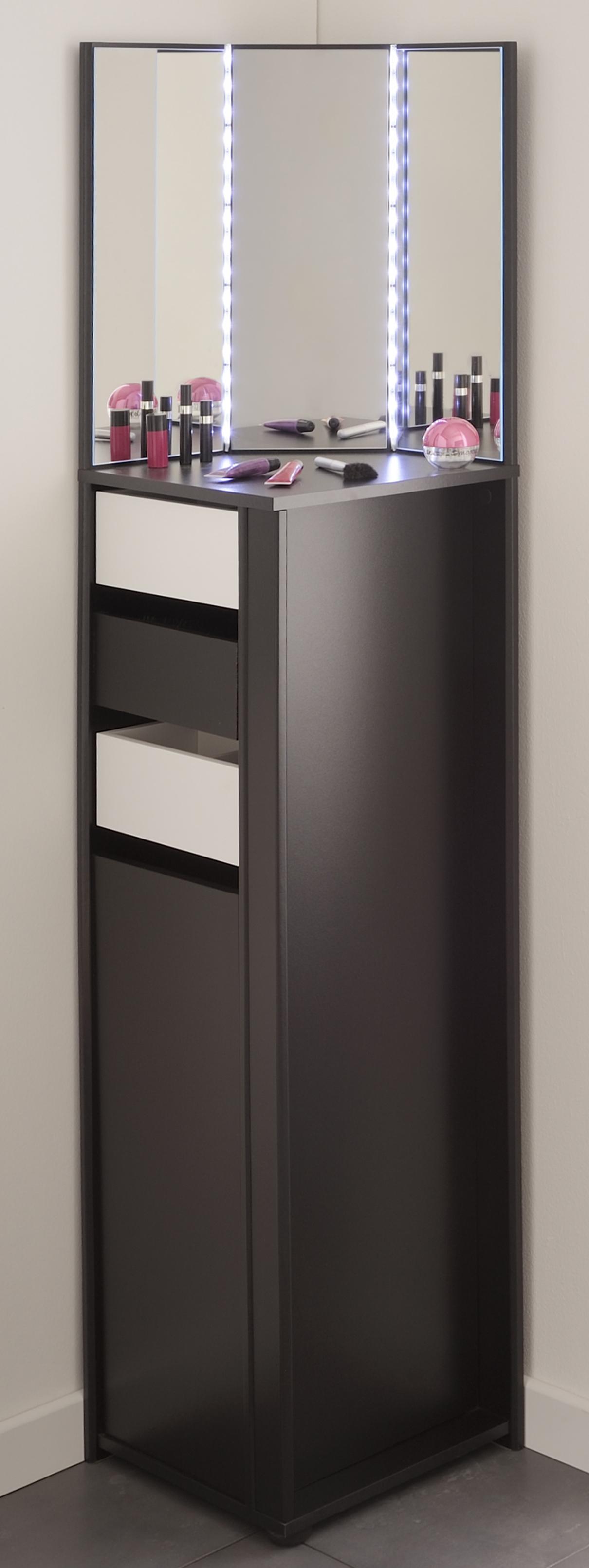 eck schminktisch inkl eck spiegel flirt von parisot schwarz wei. Black Bedroom Furniture Sets. Home Design Ideas