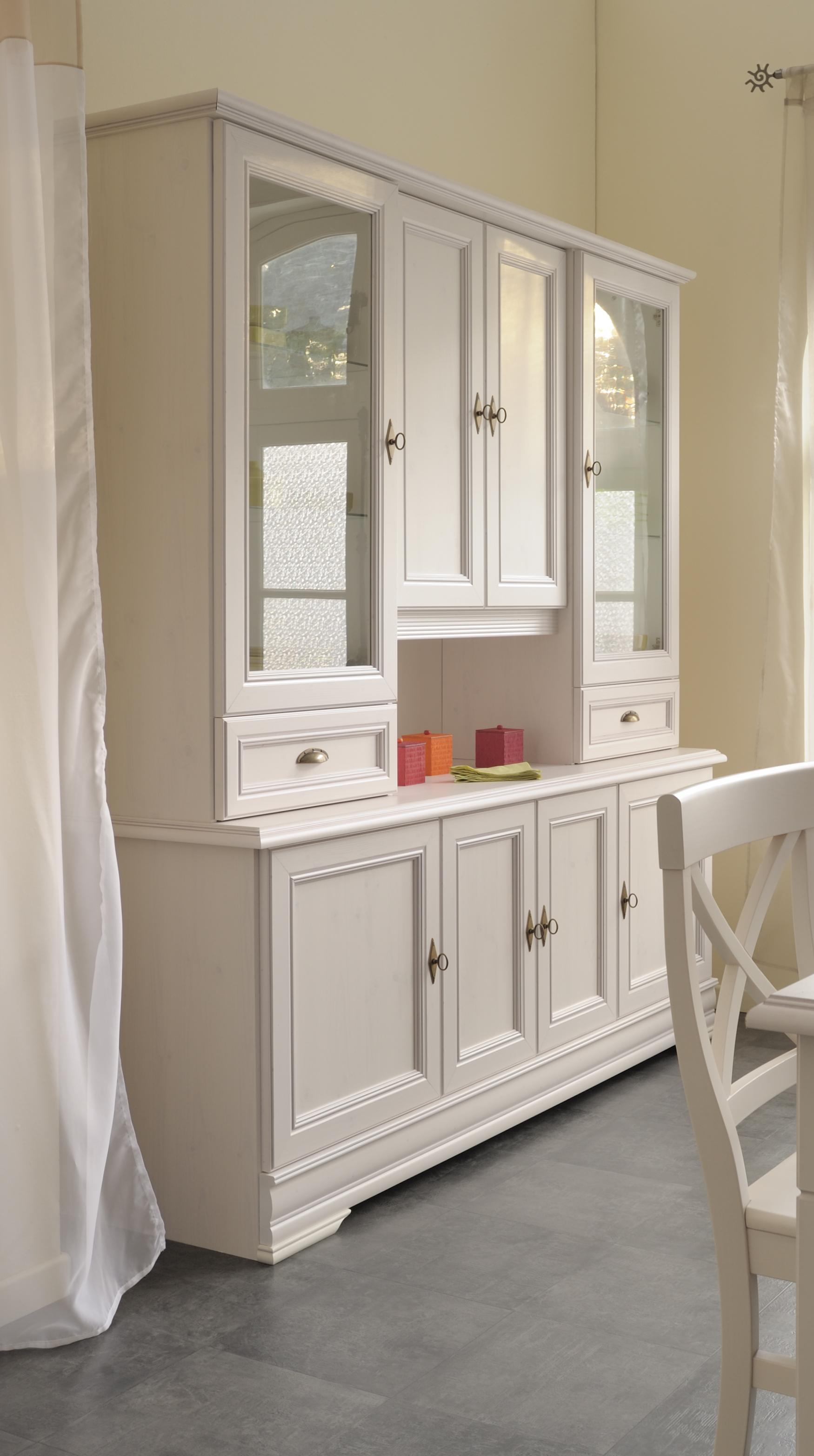 highboard vitrine kiefer weiss nachbildung elise8. Black Bedroom Furniture Sets. Home Design Ideas