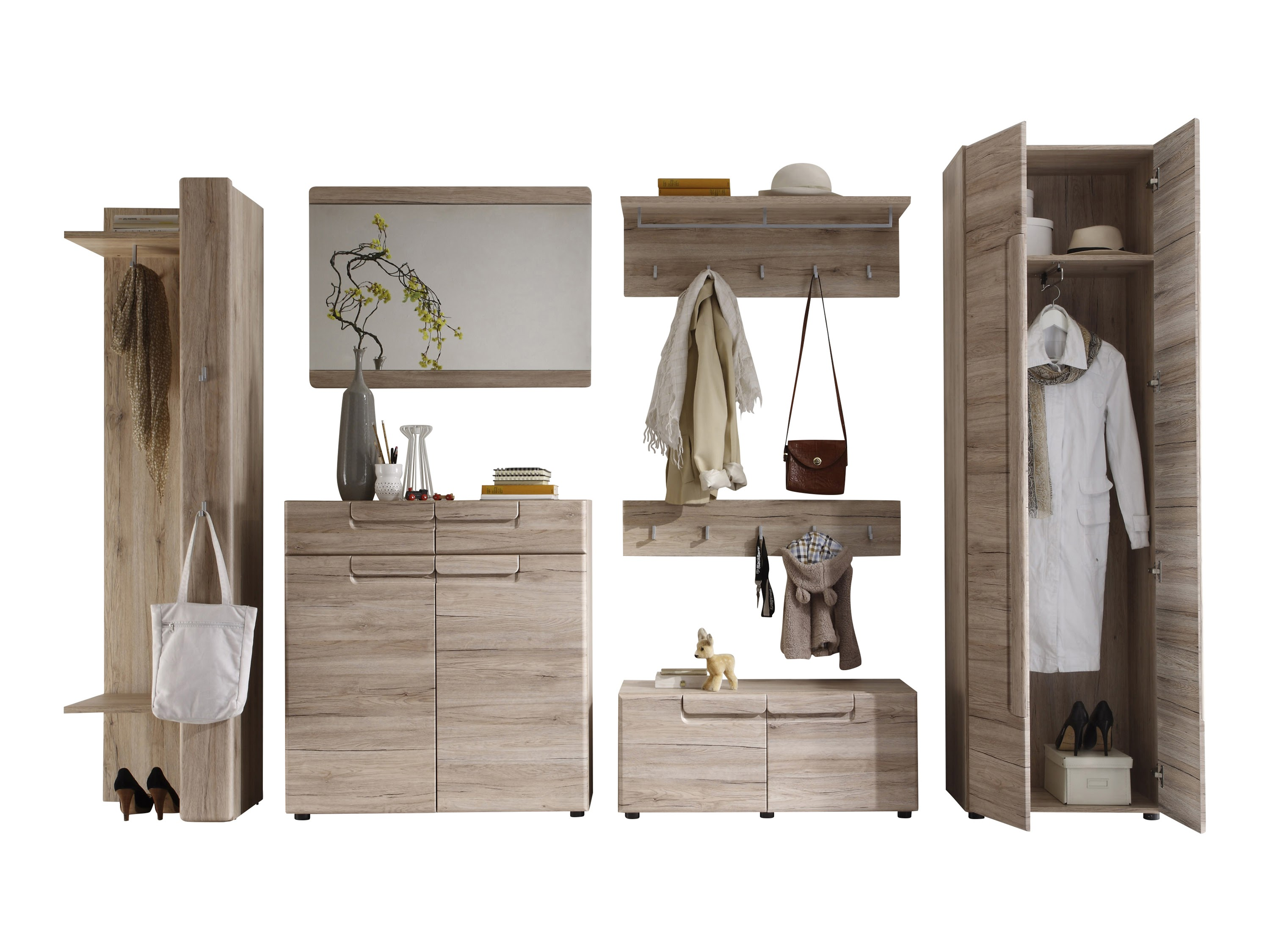garderobe malea trendteam eiche san remo hell. Black Bedroom Furniture Sets. Home Design Ideas