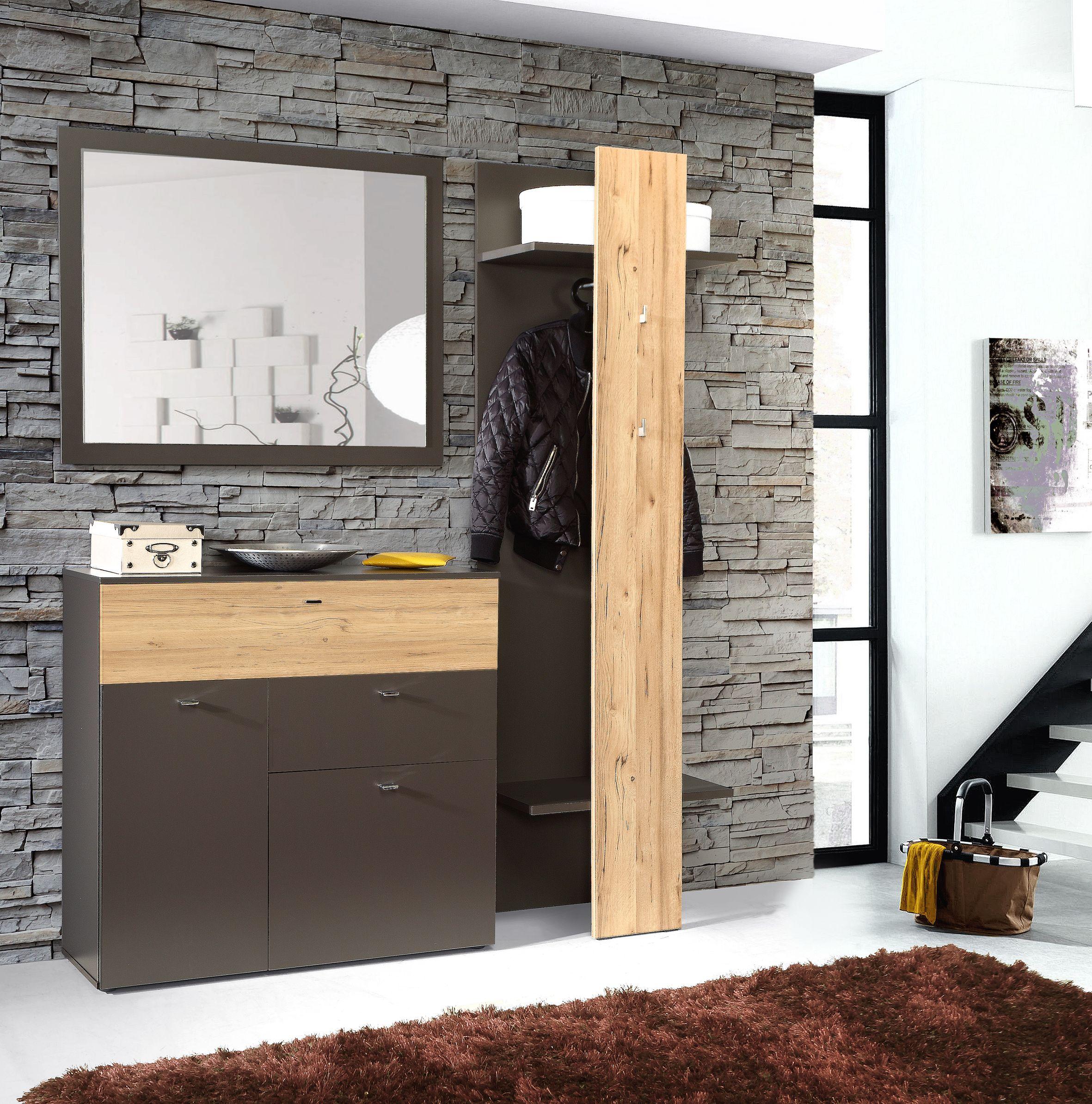 Garderobe 3 tlg como von forte wolfram grau planked for Garderobe 3 tlg