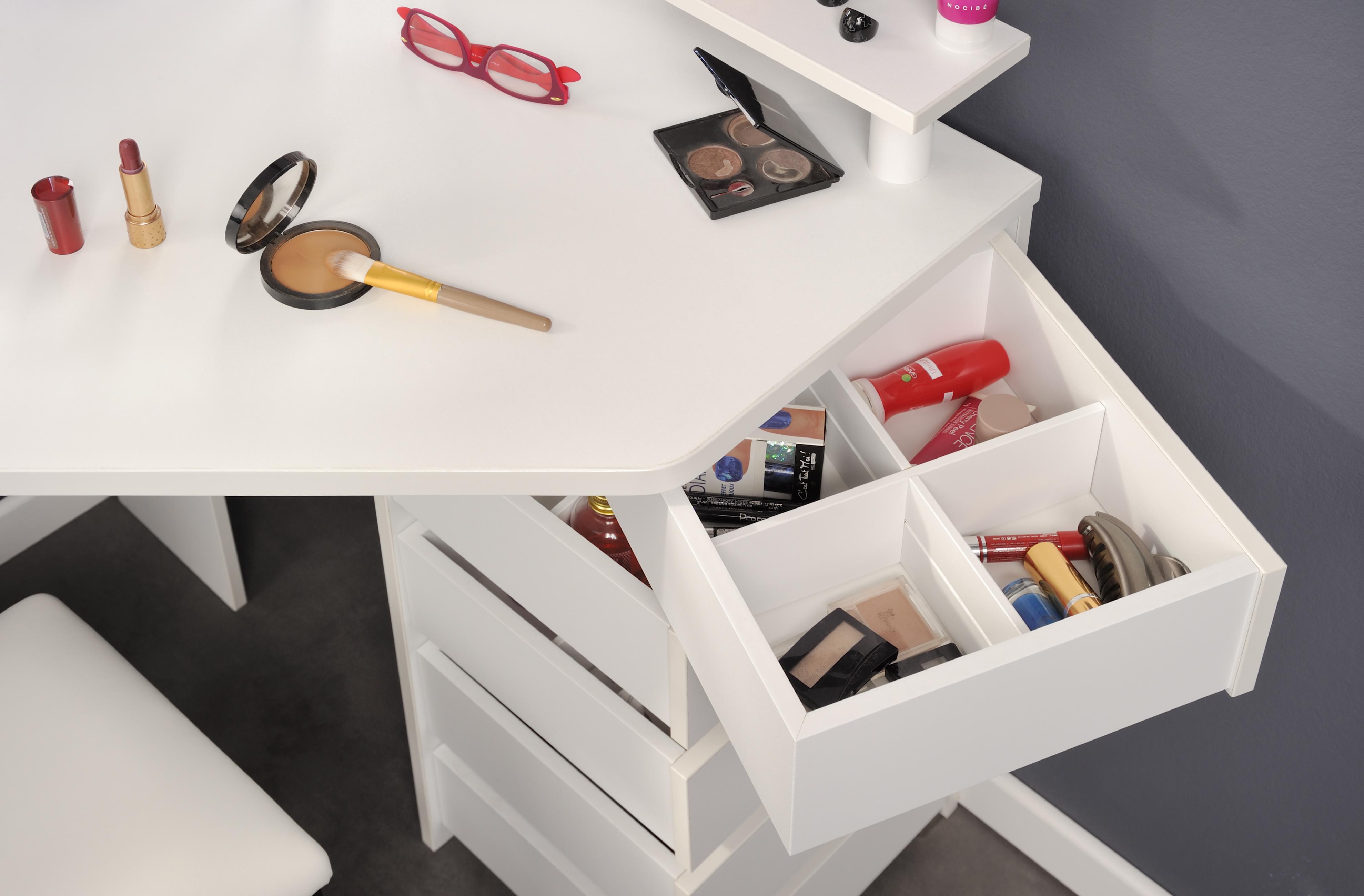eck schminktisch inkl led beleuchtung volage 11 von parisot wei. Black Bedroom Furniture Sets. Home Design Ideas